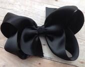 Black satin hair bow - 4 inch black bow, satin bow