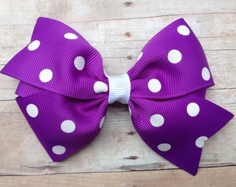 Purple & white polka dot hair bow - purple polka dot bow, 4 inch purple bow