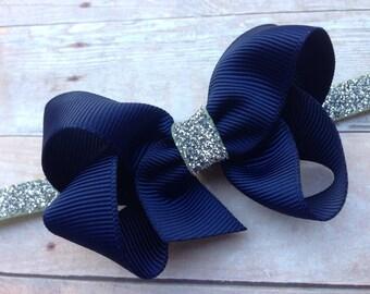 Navy & silver baby headband - navy blue baby headband, silver headband, silver headband, Christmas headband, baby headbands