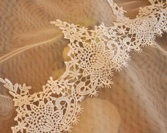 Venise bridal lace fabric trim, guipure lace trim, scallop lace trim