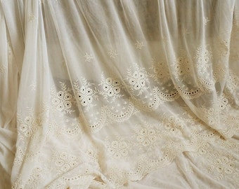 ivory Lace Fabric, cotton Embroidered Lace, embroidered ulle lace fabric, mesh lace fabric, gauze lace fabric