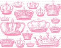 Crowns Collage Sheet - Pink Crowns Vintage Images - Graphics - Illustrations - Digital Download - Printable - Scrapbooking - 1866