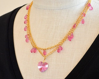 Delicate pink heart necklace Boho crystal drop multi layer gold chain necklace Multistrand necklace Easter spring summer jewelry