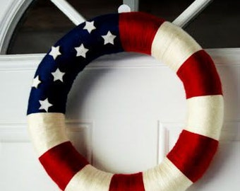Patriotic American flag yarn wreath