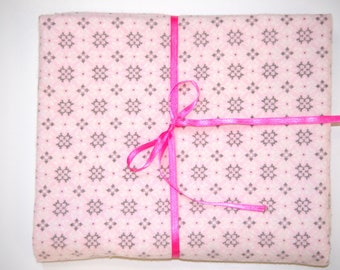 Extra Large Receiving/Swaddle Blanket - Pink Gray Palyin Ice 36x42 Snowflake