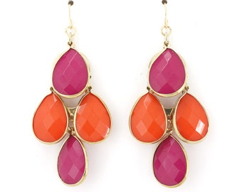 Pretty Gold tone Pink and Orange Beads Chandelier Earrings