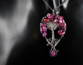 SALE Star Ruby, Freshwater Pearl Full Moon, Sterling Silver Tree of Life Pendant