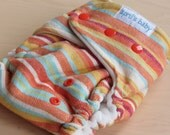 One Size Hybrid Fitted Cloth Diaper - Rainbow Wrap Scrap