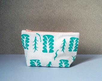 Zipper Pouch, Silkscreen, Green Plant, 20 cm zip