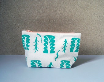 Pochette, Sérigraphie, Plante Verte, Zip 20 cm