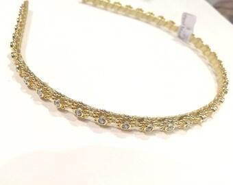 Gold Rhinestone Headband- Special Occasion Headband- Gold headband- Wedding- Bridal- Prom headband- Flower Girl- Bridal Party Hairband