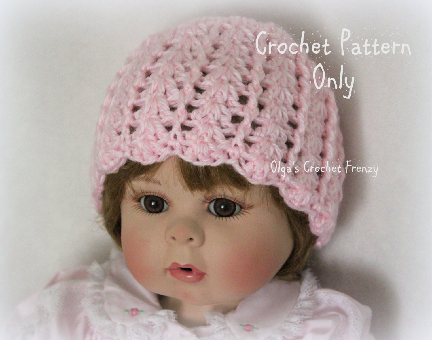 Crochet Baby Hat Pattern Beginner : Baby Girl Hat Crochet Pattern Beginner Skill Level Size 0-3
