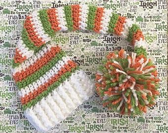 Crochet St. Patrick's Day Orange, Green and White Stocking Hat, Newborn Photo Prop, St. Patrick's Day, Elf Hat, Baby Hat