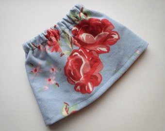 Pretty Corduroy Skirt - with Mini Boden Rose Print Fabric for 18 inch American Girl or Bitty Baby doll
