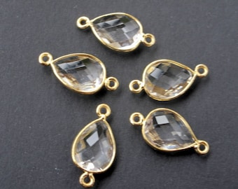 5 x gold framed crystal stone connectors 20mm x 10mm with loops, clear