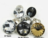 6 pcs 0.79~1.18 inch Transparent/Black/Brown Crystal Acrylic Plastic Shank Buttons for Sofas Bags