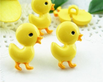 6 pcs 0.71~0.47 inch Kawaii Cute Yellow Duck/Chick Resin Shank Buttons for Kids Sweaters