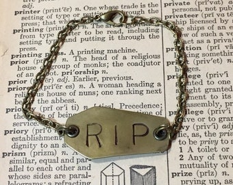 RIP Hand Stamped Brass Coffin Bracelet