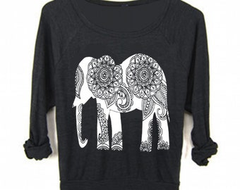 Womens ELEPHANT Yoga Sweater Sweatshirt Tee Bohemian Boho Screen Print Top Long Sleeve American Apparel Raglan Pullover S M L  more Colors