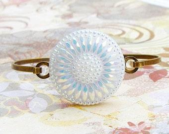 Frosted White Sunflower - Czech glass button bangle bracelet