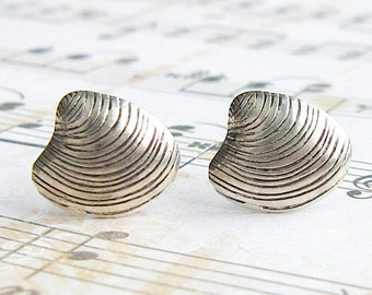Silver Clam post earrings