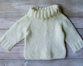 Baby Girls Clothes - Baby Girl Sweater - Soft Cream Pullover Size 12 Months Childrens Clothing