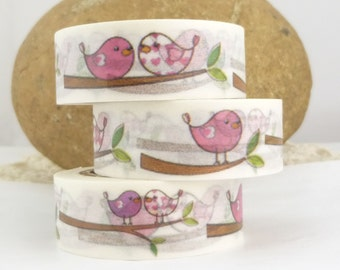 Pink Love Birds on Branch Washi Tape - Y1565