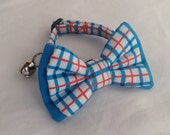 Cat Collar Bow Tie Set - Blue And Orange Plaid - Availlable In 3 Sizes