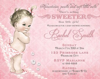 Girl Baby Shower Invitation and FREE Thank You Card - Vintage Pink Baby Shower Invite - Baby Girl Shower Invitation - Vintage Baby Shower