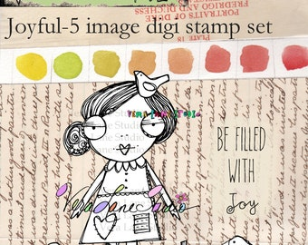 whimsical girl digi stamp with birds