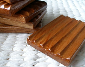 Wooden Soap Dish - Handcrafted Reclaimed Elm Wood Soap Saver Dish