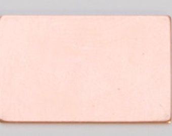 Copper Blanks Rectangle 1/2 x 7/8 Inch 18ga Pkg Of 6
