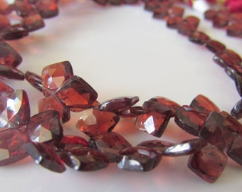 Mozambique Red Garnet Faceted 5-6mm Diamond Beads