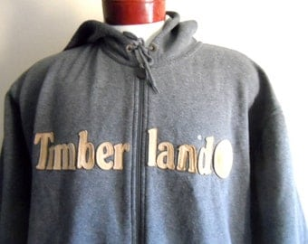 vintage 90's Timberland charcoal heather grey fleece light brown leather applique tree spell out logo hoodie graphic sweatshirt  pullover