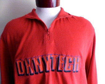 vintage 90's Donna Karan New York DKNY Tech red jersey knit embroidered applique logo graphic sweatshirt half zip mock turtle neck pullover