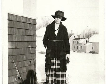 Old Photo Woman Plaid Skirt Sweater Hat Outside in Snow Shadow 1930s Photograph vintage