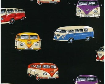 Fat Quarter VW Camper Vans On Tour Quilting Fabric Black - Nutex - 50 x 55cm