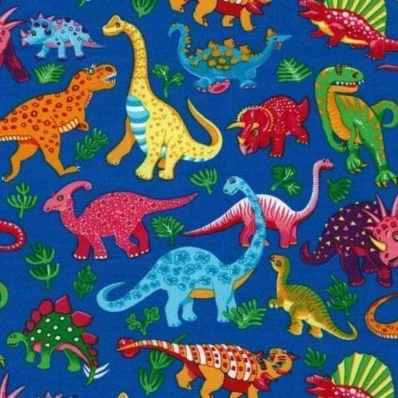 Fat Quarter Dinosaur Dance On Blue on Dinosaur Quilt