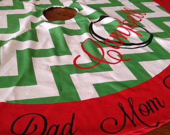 LARGE Personalized Christmas Tree Skirt, NOT EMBROIDERED, Design Your Own,  Printed Tree Skirt