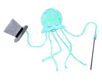 Funny Jellyfish Cards - Turquoise and Sea Green Dancing Jellyfish