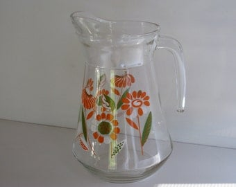 JUICE PITCHER/Bright Orange Sixties Flower Pattern Pitcher/Vintage Tableware/Vintage Juice Pitcher/Kitchenware/Water Pitcher/Retro Pitchers