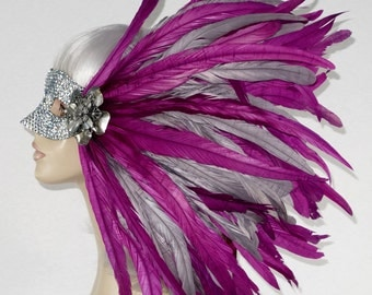 Fab in Fuchsia!  Silver & Fuchsia Rooster Feather Masquerade Mask