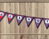 Nautical Baby Shower Banner, Anchor Baby Shower banner, Sailor banner, Sailboat pennant - Red Navy Ahoy it's a Boy Party PRINTABLE INSTANT