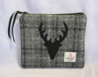 Grey Check Harris Tweed Multi Purpose Bag/ Stag Head