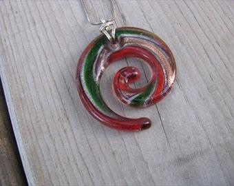 JEWELRY SALE-  Red Murano Glass Swirl Pendant Necklace