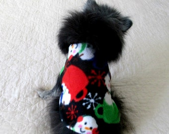 Small Dog Coat, Minky Fleece Small Dog Coat, Snowman Print, Custom to Fit Pomeranian Size