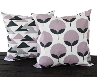 Throw pillow covers pair cushion covers purple gray charcoal pillow cases