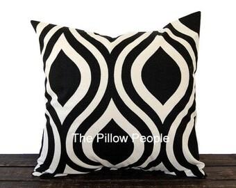Black and natural throw pillow cover One peacock cushion sham modern decor Emily