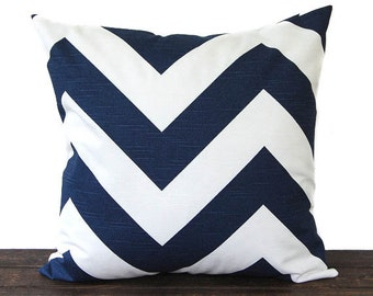 "Premier Navy chevron pillow cover One 18"" x 18"" cushion covers navy blue and white throw pillow covers modern decor"