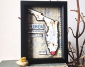 Florida State Map and Heart - Shadowbox - Personalized Anniversary Gift